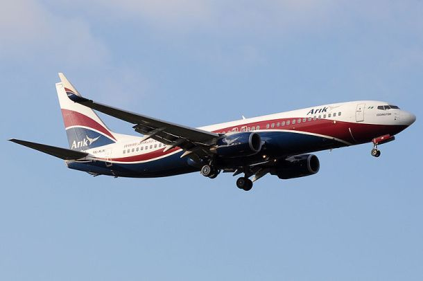 Arik Air Boeing 737-800 landing at London Heathrow