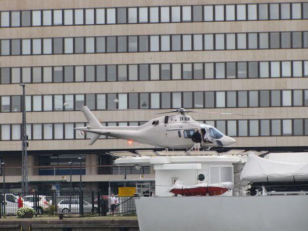Author: MKFI AgustaWestland AW119 helicopter on the stern helipad of luxury yacht Senses.
