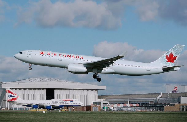 Author: Adrian Pingstone Air Canada Airbus A330-300 (registration C-GHKR) lands at London Heathrow Airport, England.