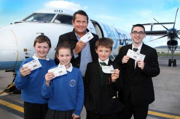 Preparing to board a Bombardier Q400 flight with the company's education liaison officer, Tony Monaghan, are Craig Moore and Elle McGowan, Cumber Primary School Claudy, and Jack O'Hagan and Jamie Williams, St Joseph's Boys' School, Derry. The flight rounded off Bombardier's 'See Inside Manufacturing' programme of activities for schoolchildren across Northern Ireland. Source: Bombardier Aerospace