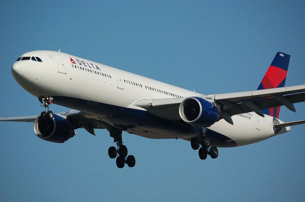 A Delta Airlines Airbus A330-323E landing on runway 18C at Schiphol Author: Gietje
