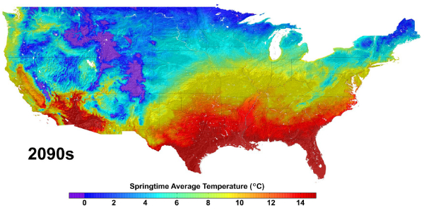 Climate change projections for the United States, such as the data shown in this image of average springtime temperature change from the 1950s to the 2090s, will be available on the cloud through an agreement with Amazon Web Services. This data was produced by the NASA Earth Exchange (NEX), a research platform of the NASA Advanced Supercomputer Facility at the agency's Ames Research Center in Moffett Field, Calif.
