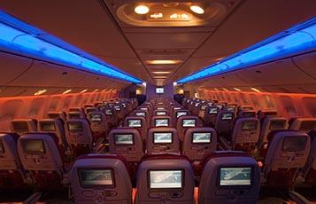 Qatar Airways' Boeing 777-200LR Economy Class.