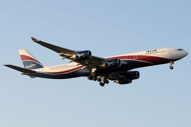 Arik Air A340-500 landing at London Heathrow. Source: http://www.jetphotos.net/viewphoto.php?id=7068723 Author: Biggerben