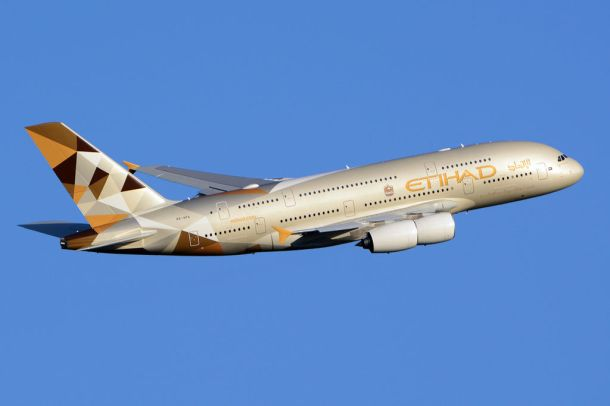 """Etihad Airways - Airbus A380-861"" by Richard Vandervord - http://www.airliners.net/photo/Etihad-Airways/Airbus-A380-861/2574151/L/. Licensed under CC BY-SA 4.0 via Wikimedia Commons - https://commons.wikimedia.org/wiki/File:Etihad_Airways_-_Airbus_A380-861.jpg#/media/File:Etihad_Airways_-_Airbus_A380-861.jpg"