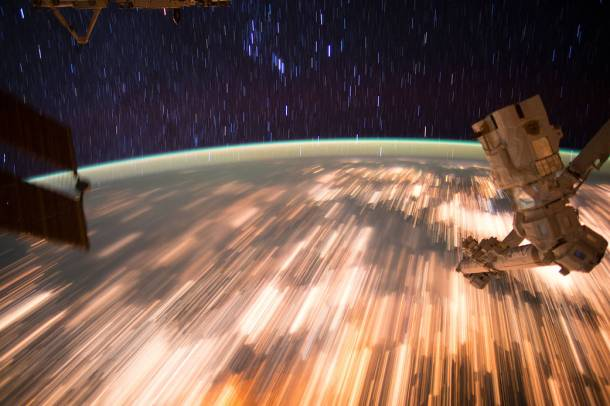Astronauts on the International Space Station captured a series of incredible star trail images on Oct. 3, 2016, as they orbited at 17,500 miles per hour. The station orbits the Earth every 90 minutes, and astronauts aboard see an average of 16 sunrises and sunsets every 24 hours. Image Credit: NASA