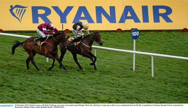 29 December 2015; Nichols Canyon, with Ruby Walsh up, races clear of Identity Thief, left, with Bryan Cooper up, on their way to winning the Ryanair Hurdle. Leopardstown Christmas Racing Festival, Leopardstown Racecourse, Dublin. Picture credit: Brendan Moran / SPORTSFILE
