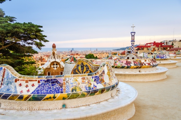 View of colorful ceramic mosaic bench of park Guell, designed by Antonio Gaudi, in Barcelona, Spain