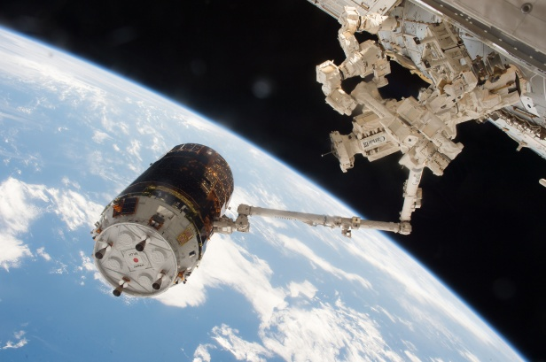 The Japanese H-II Transport Vehicle-6 (HTV-6) cargo vehicle is seen grappled by the International Space Station's robotic arm after arrival on Dec. 13, 2016. Six weeks after delivering more than 4.5 tons of supplies and experiments to the space station, the unpiloted Japanese cargo spacecraft is scheduled to depart the station Friday, Jan. 27. Credits: NASA