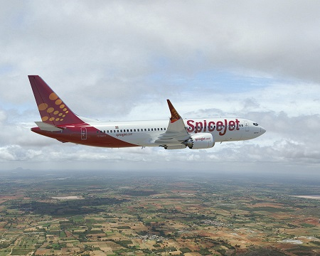 737Max-8; Rendering for Spice Jet; India; Spicejet.com; K66612; View from Right side of plane; Over fields; air to air;